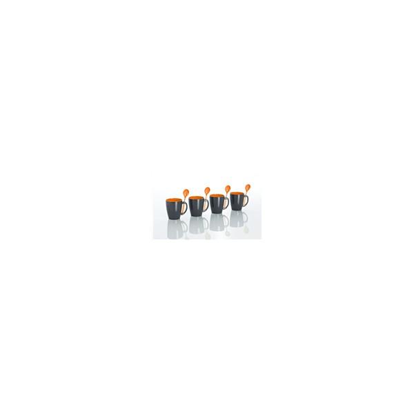 Kruusikomplekt teelusikatega oranz 4 pakk