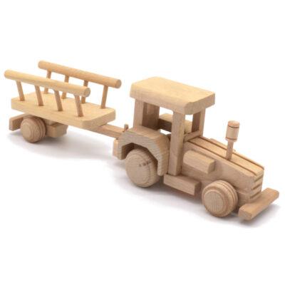 Mänguasi traktor puidust /järelhaagis