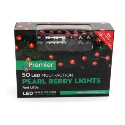 50 LED värvilised pärlikujulised tuled punased