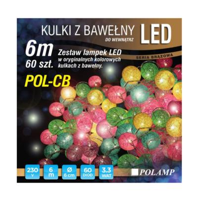 LED jõulutuled pallid 6m 60LED niit valge soe sise